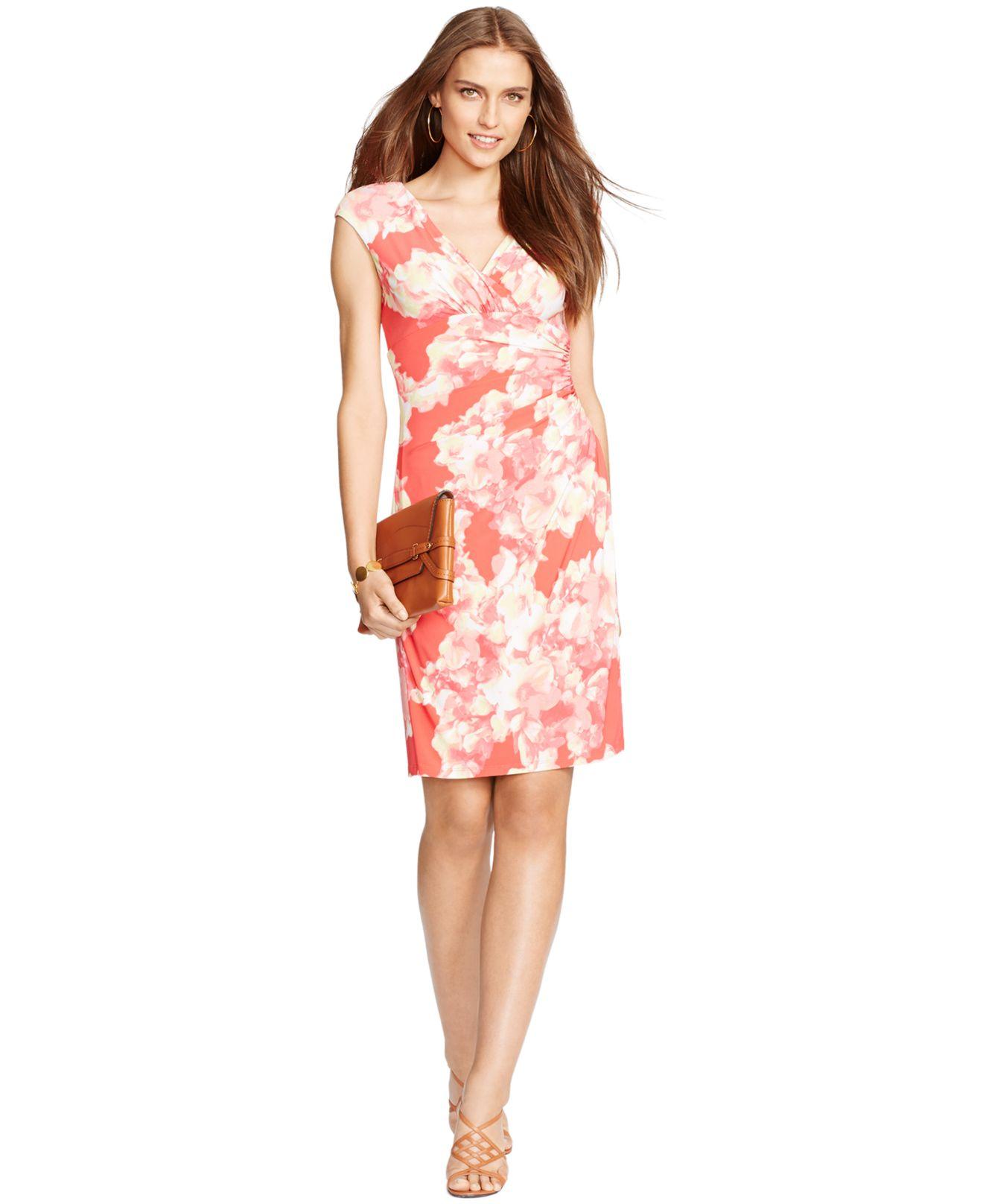 Lauren By Ralph Lauren Floral Print Surplice Dress In