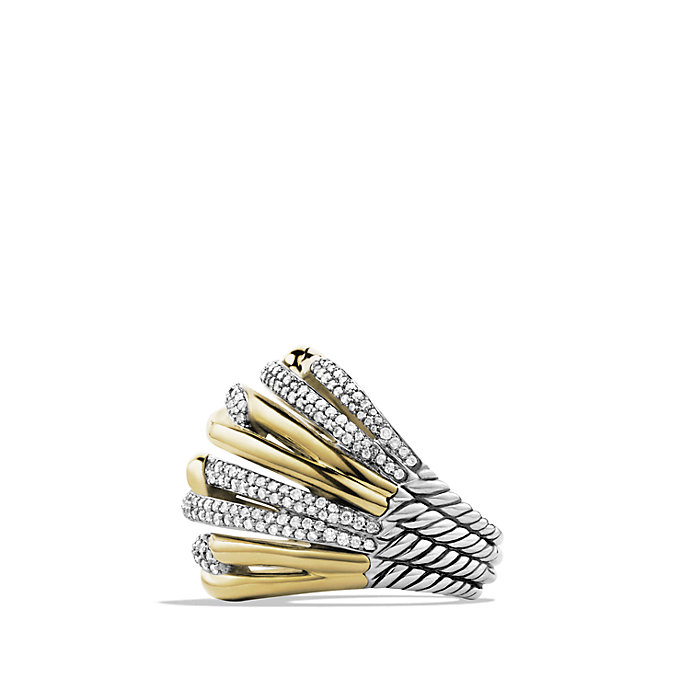 david yurman labyrinth dome ring with diamonds and gold in