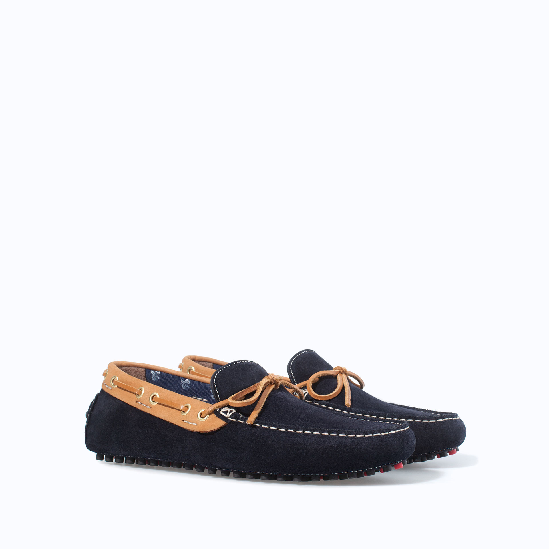 Zara combination driving shoes in blue for men navy blue lyst
