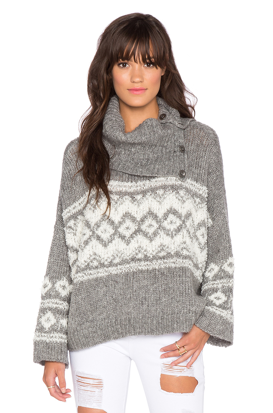 Free people Fairisle Split Neck Sweater in Gray | Lyst