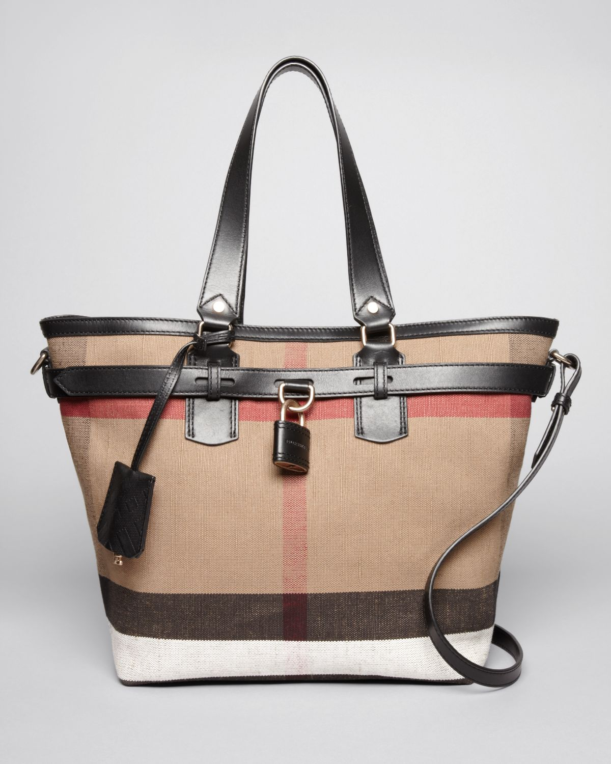 f59ac596d425 Lyst - Burberry Brit Tote Canvas Check Medium Traveler in Brown