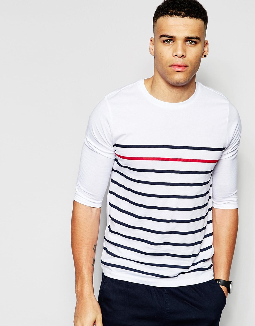 Asos 3 4 sleeve t shirt with highlight stripe in white for for Asos design free t shirt