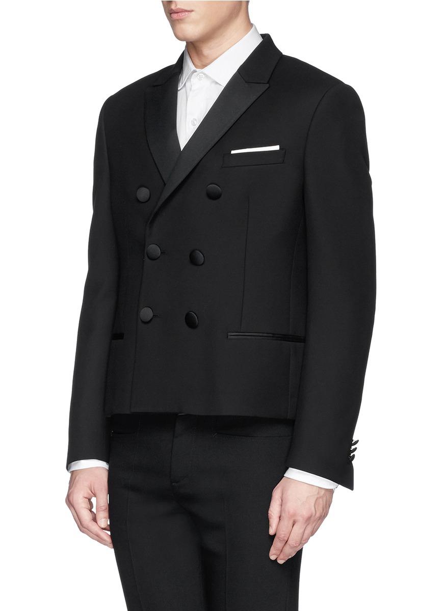 Neil barrett satin peak lapel cropped tuxedo jacket in for Neil barrett tuxedo shirt