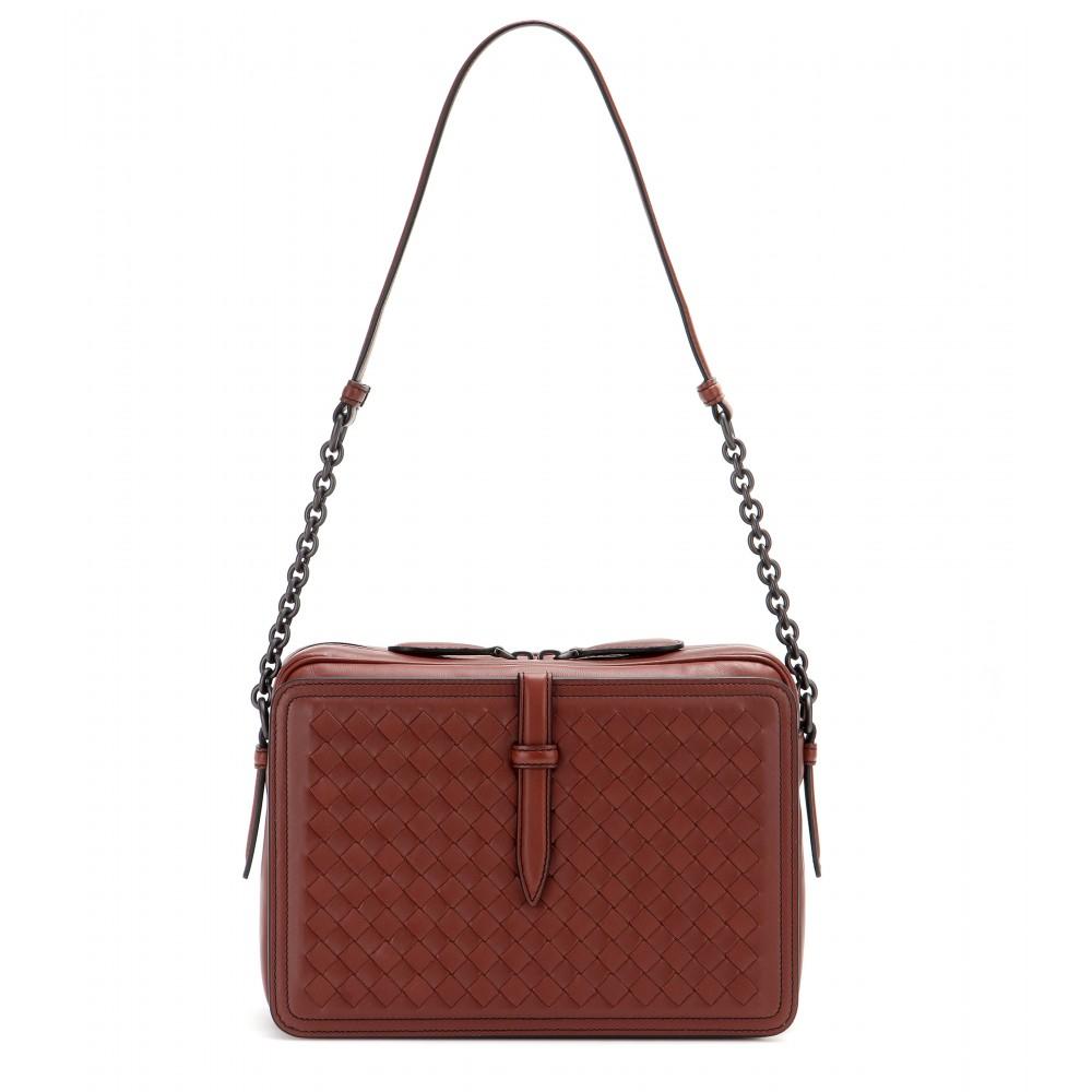bottega veneta intrecciato leather shoulder bag in brown