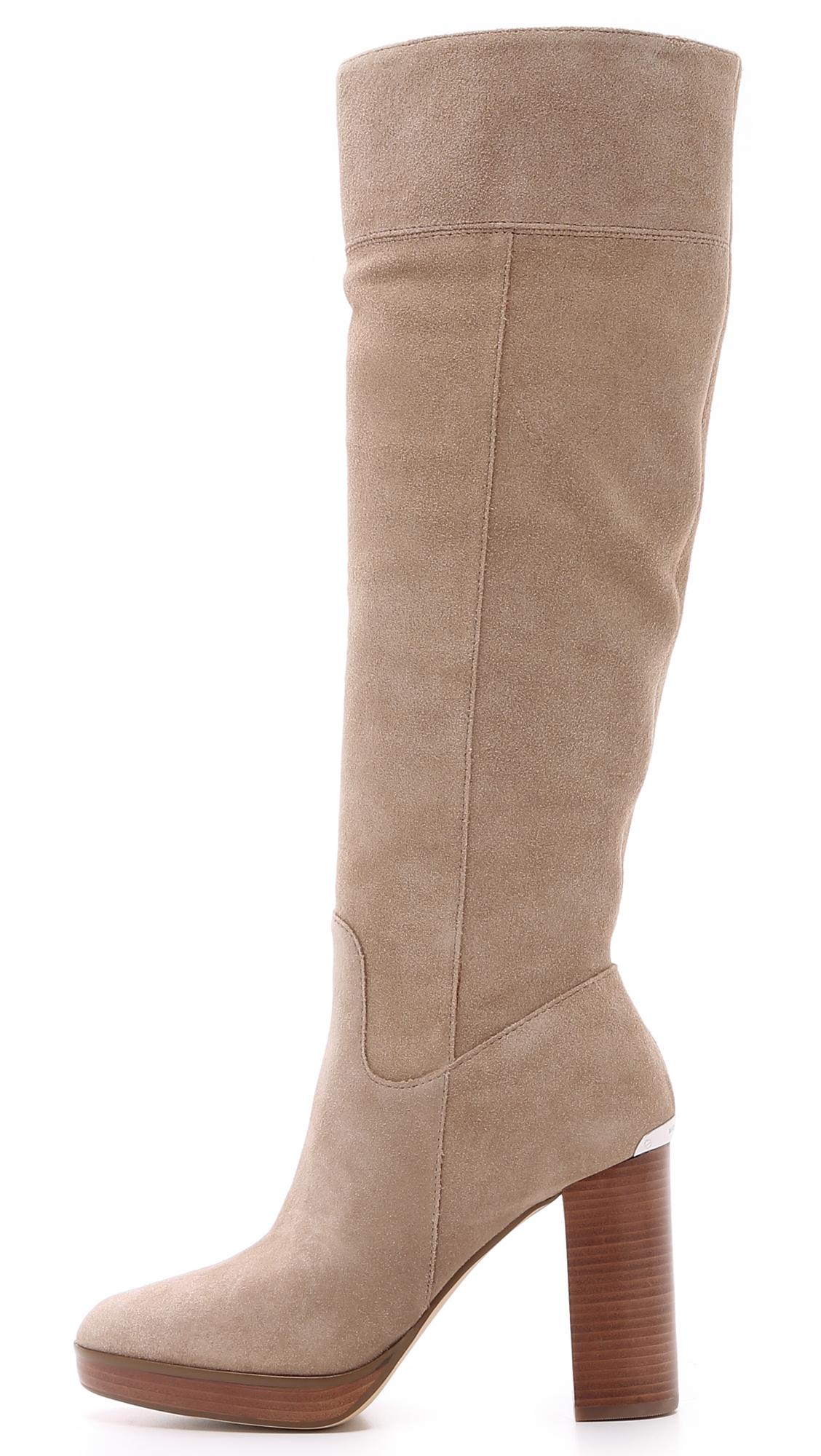 80e6e8c3571 Lyst - MICHAEL Michael Kors Regina Suede Platform Boots in Natural