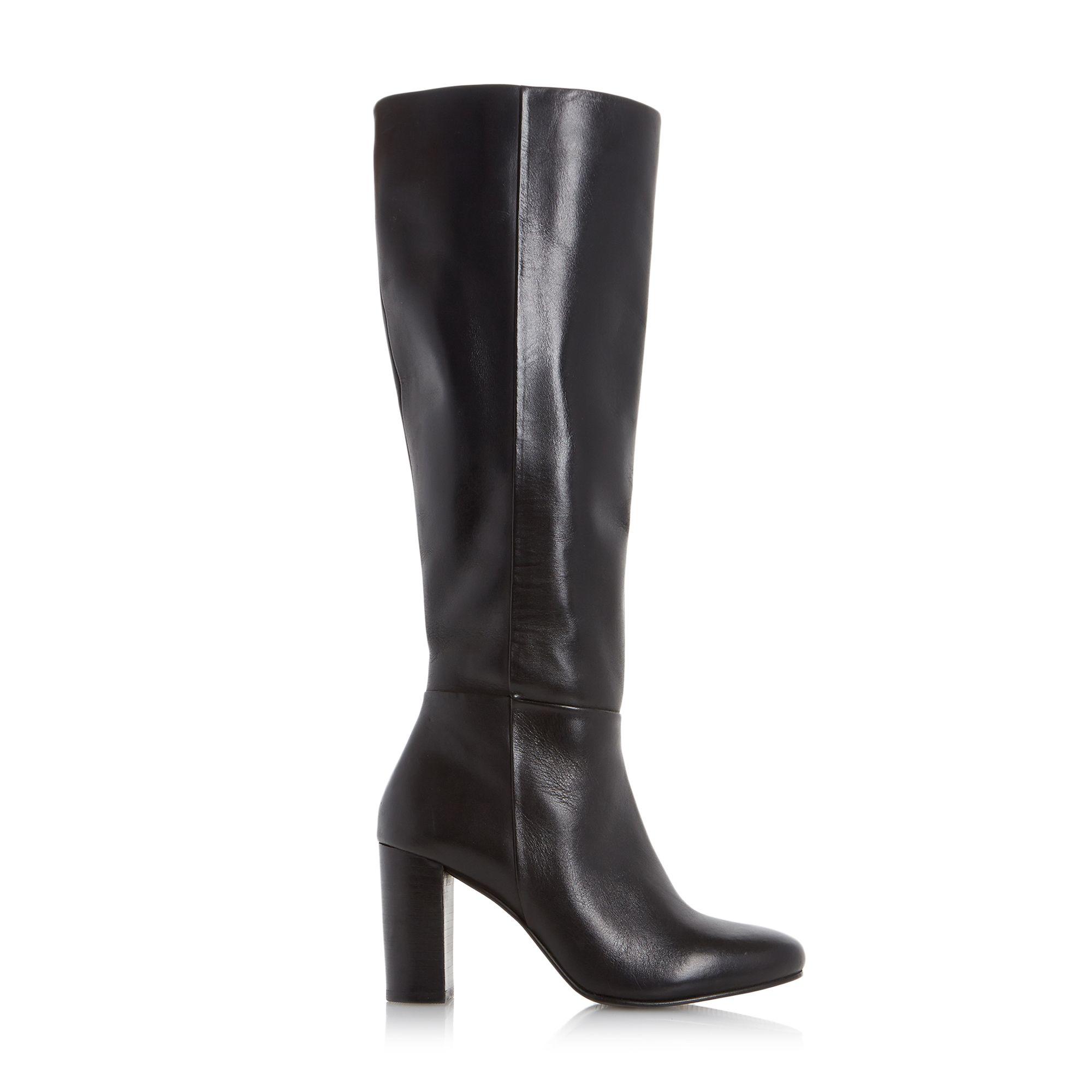 dune siena block heel leather knee high boots in black lyst