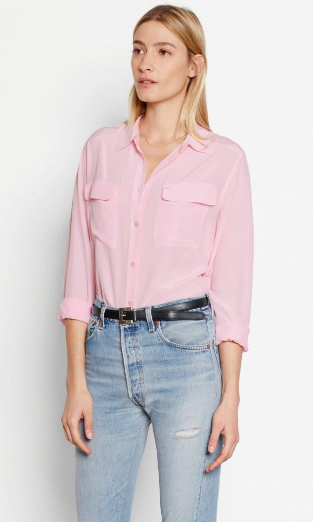 Lyst equipment signature silk shirt in pink for Equipment signature silk shirt
