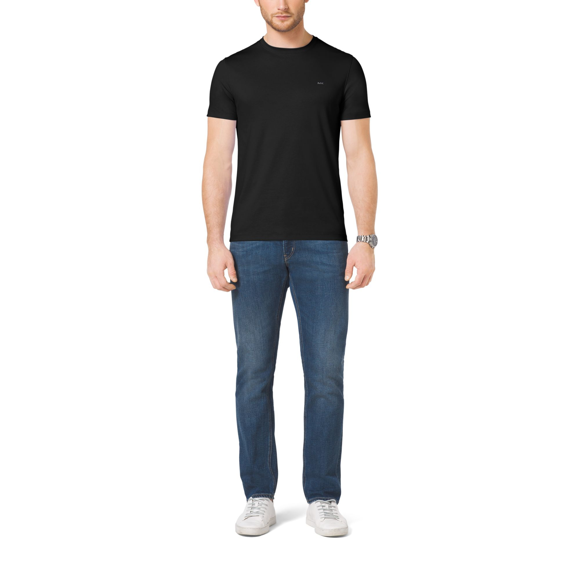 Michael kors cotton polo shirt in black for men lyst for Black cotton polo shirt