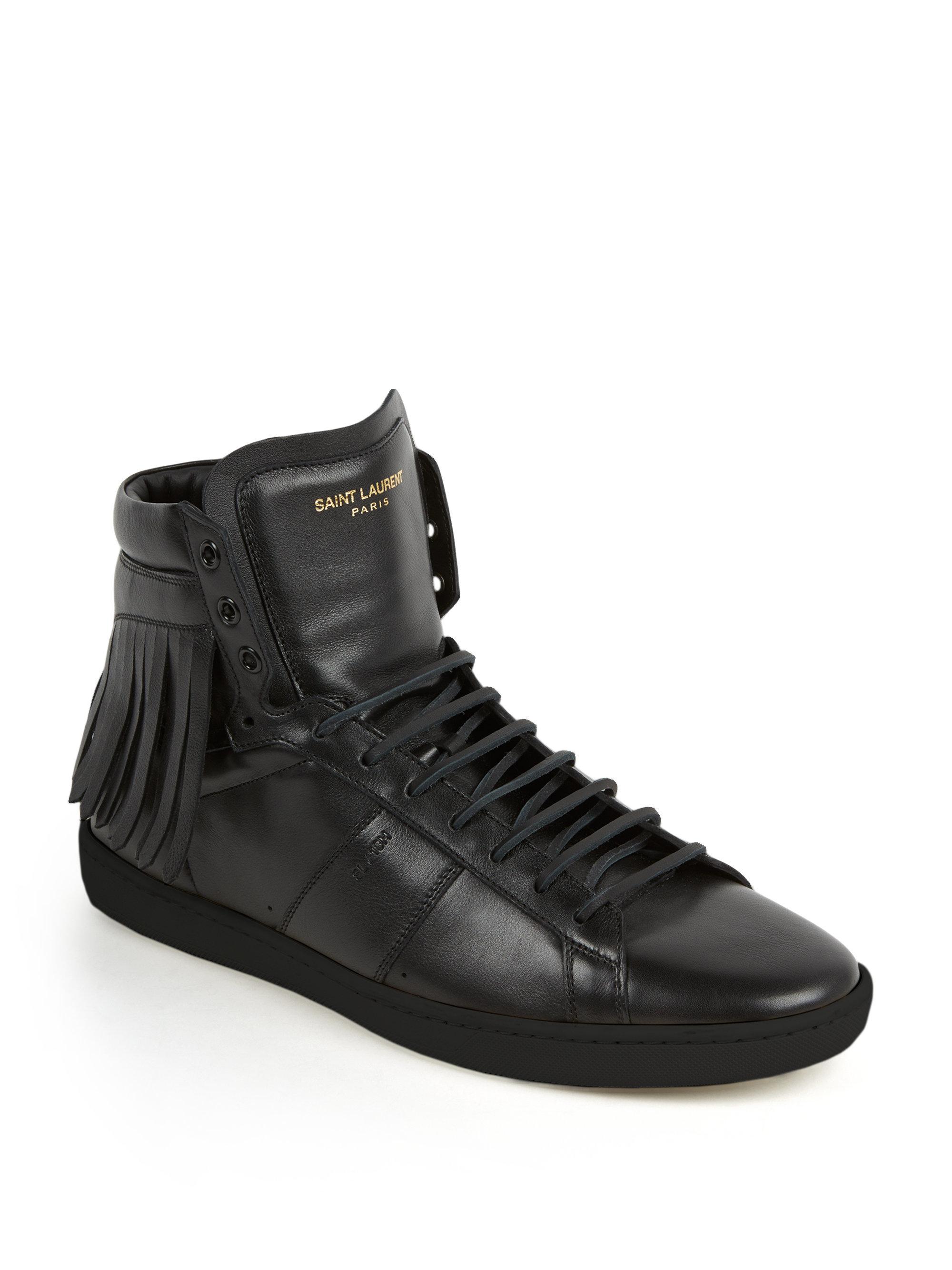 saint laurent fringed leather high top sneakers in black for men lyst. Black Bedroom Furniture Sets. Home Design Ideas