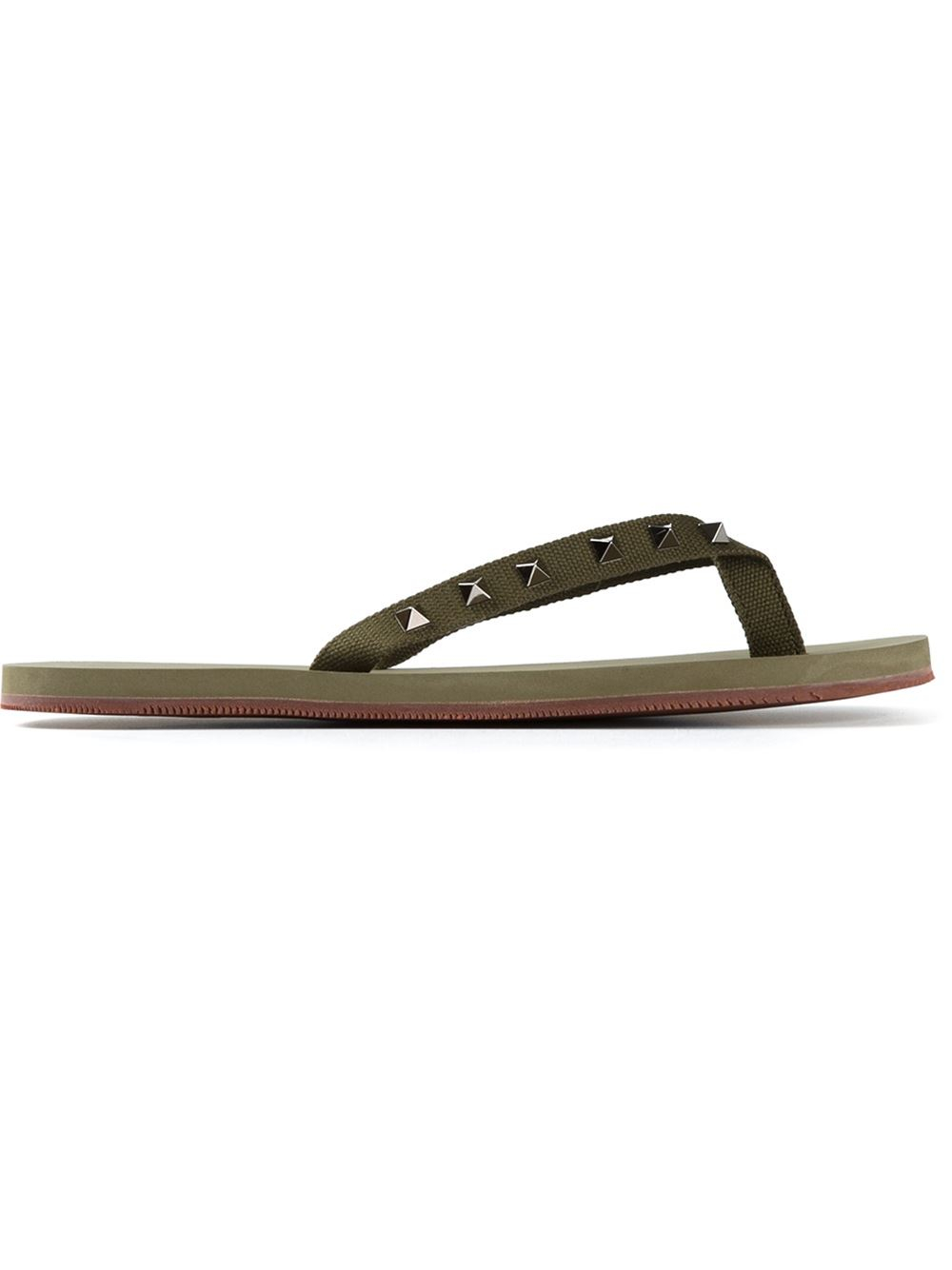 valentino rockstud flip flops in green for men lyst. Black Bedroom Furniture Sets. Home Design Ideas