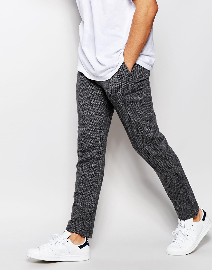 46972c0f28 SELECTED Gray Herringbone Trousers In Slim Fit for men