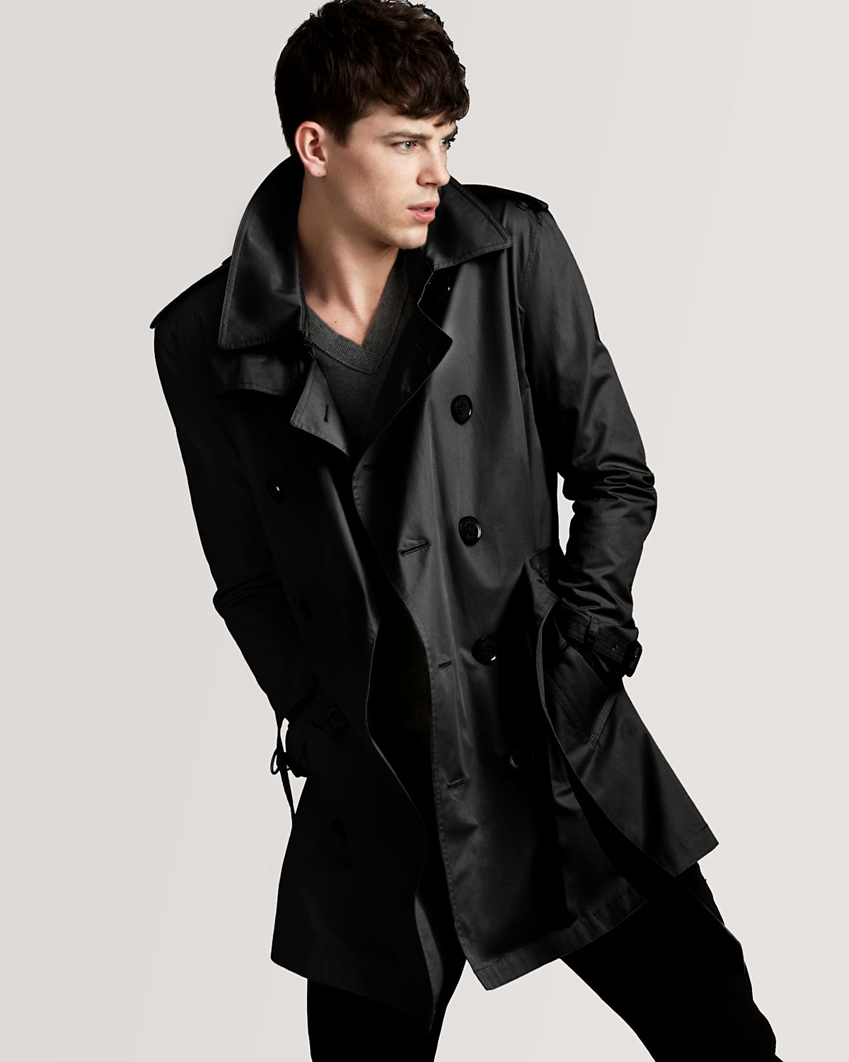 Burberry Britton Double Breasted Trench Coat In Black For