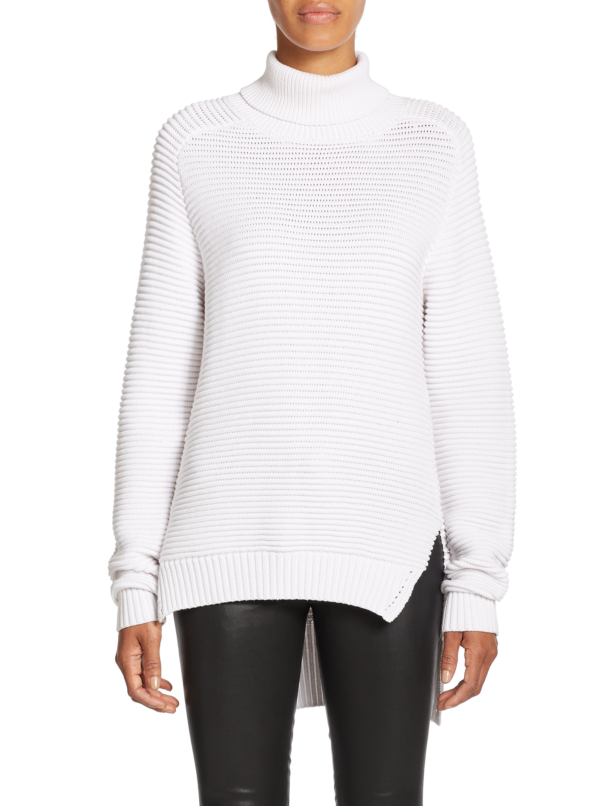 Nicholas N / Ribbed Cotton Turtleneck Sweater in White | Lyst
