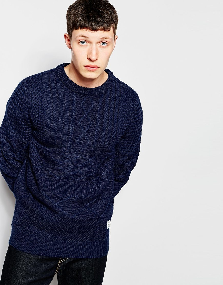 Bellfield Contrast Cable Knit Jumper in Blue for Men | Lyst