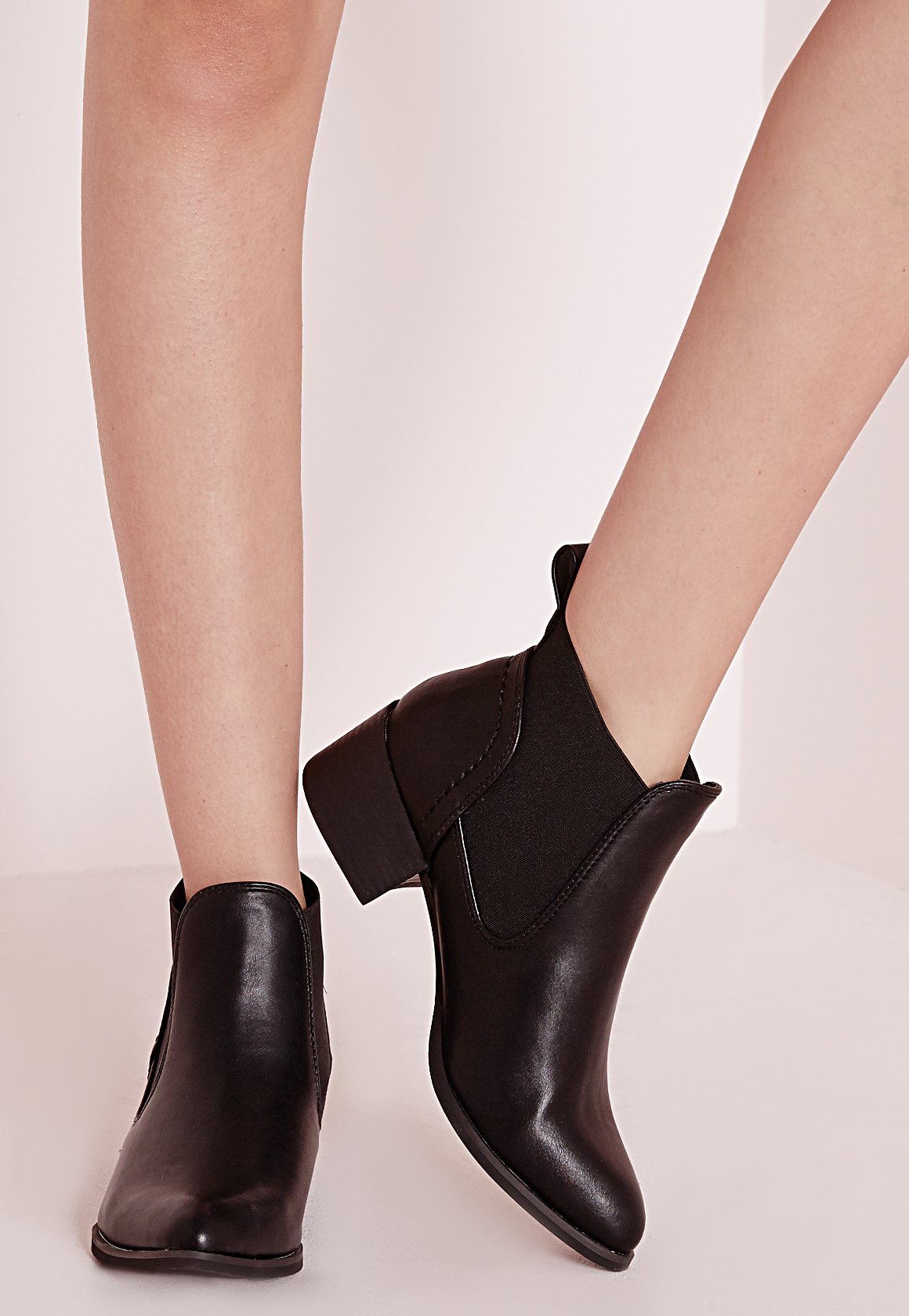 missguided pointed toe chelsea boots black in black lyst