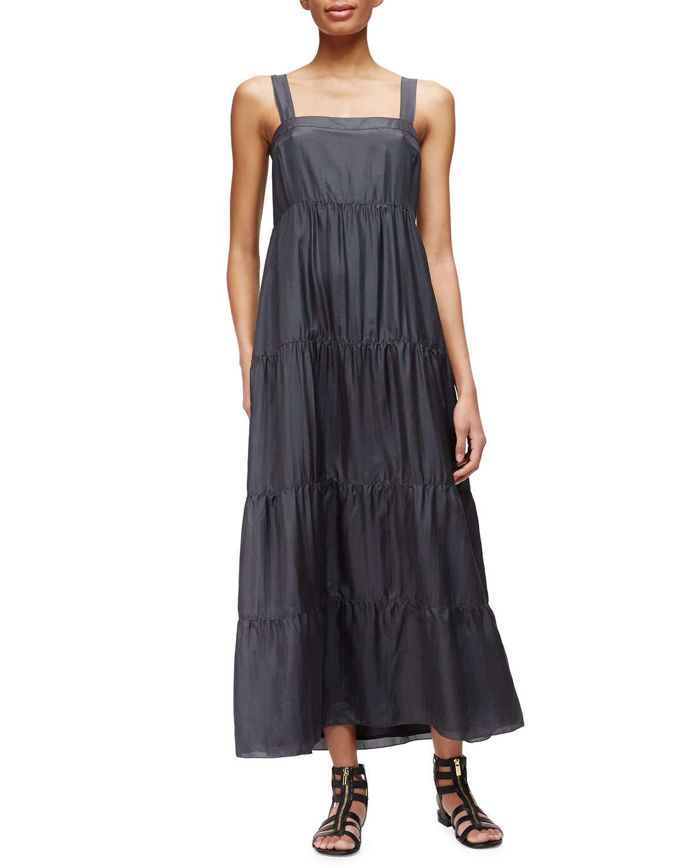 Silk tiered maxi dress