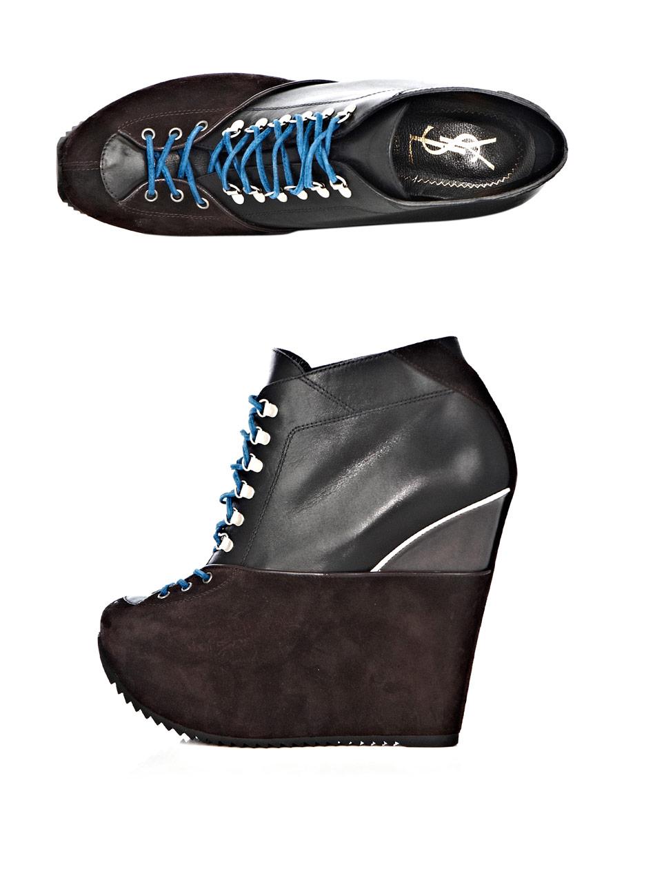 Saint Laurent Ariane Wedge Boots In Brown Black Lyst