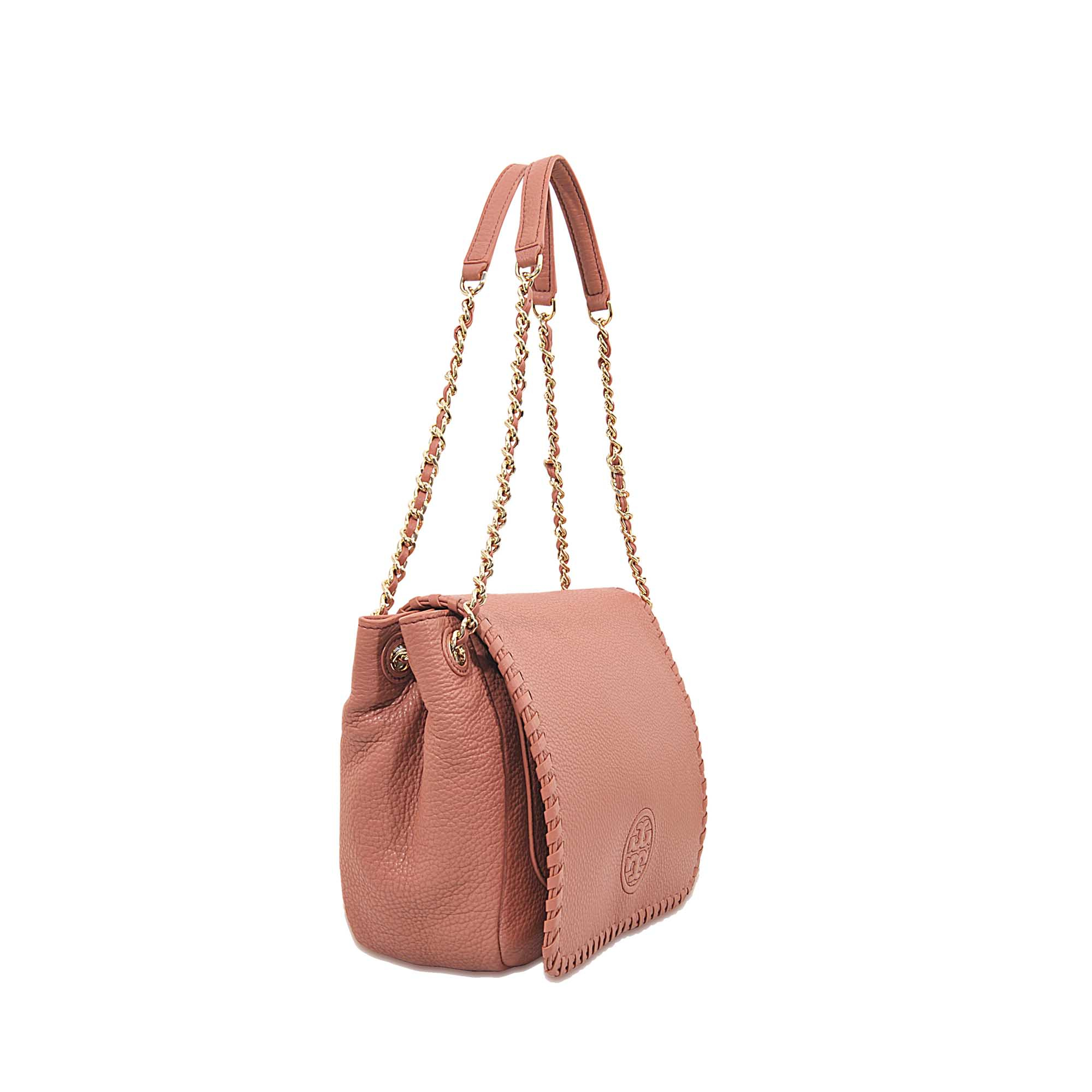 Lyst - Tory Burch Marion Small Flap Shoulder Bag in Pink 6969c30b8