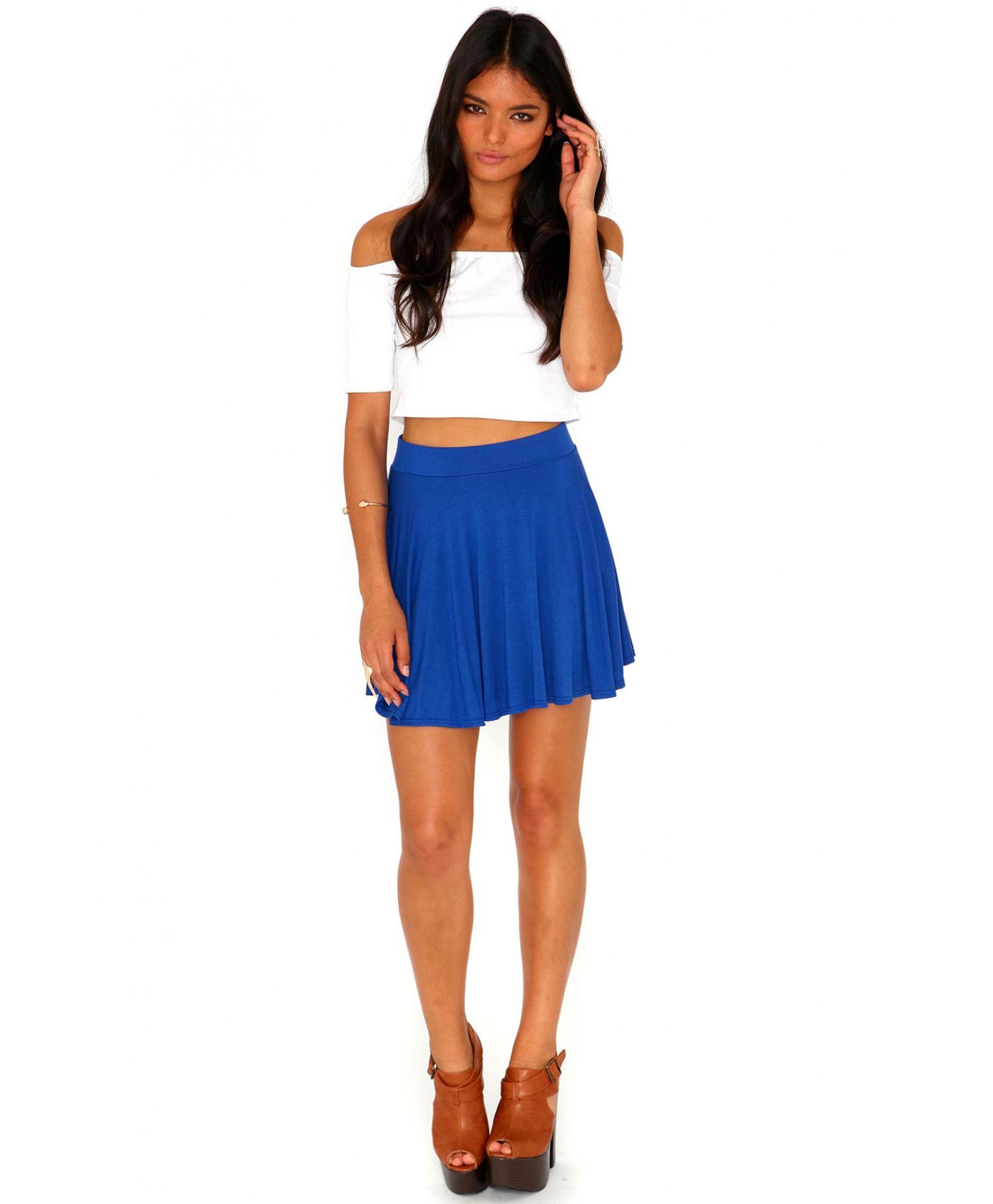 missguided briae mini skater skirt in cobalt blue in blue
