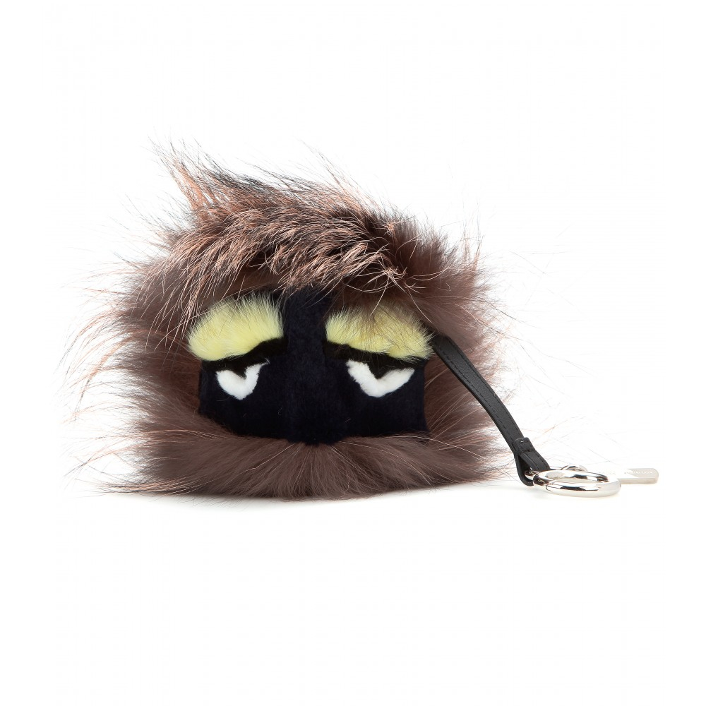 6e92eba3de15 Lyst - Fendi Bag Bugs Charm with Fox Mink and Rabbit Fur in Natural