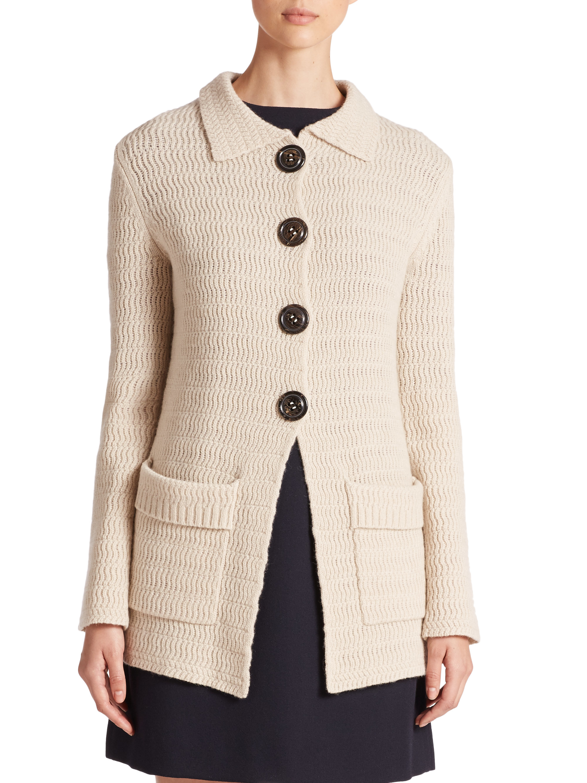 Wool Sweater Grey: Goat Blossom Wool Sweater Jacket In Natural