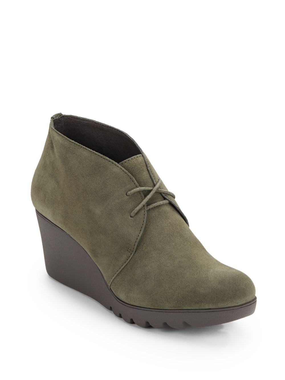 donald j pliner maka suede wedge chukka boots in green lyst