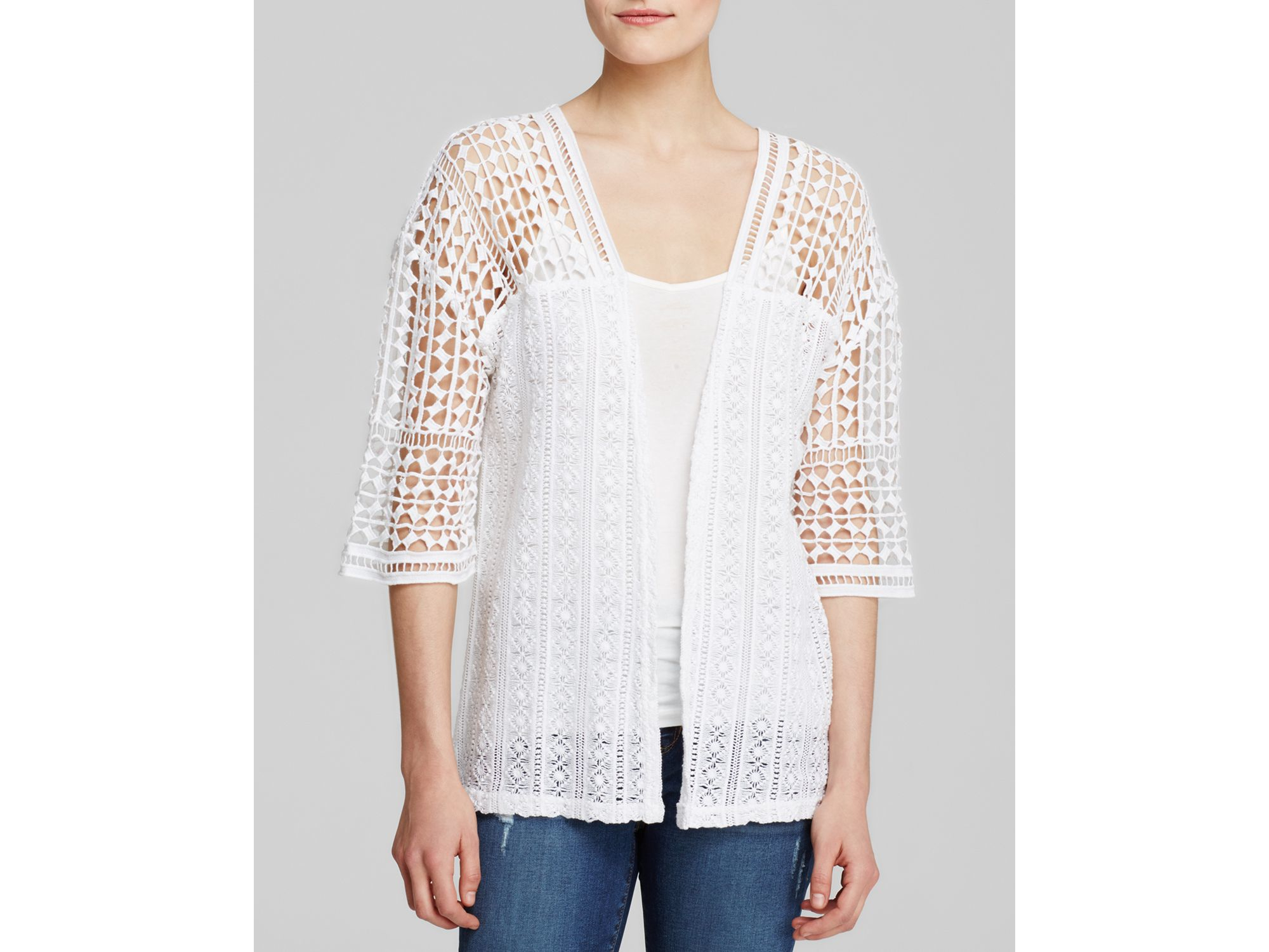 Xcvi Erida Cotton Crochet Cardigan In White Lyst