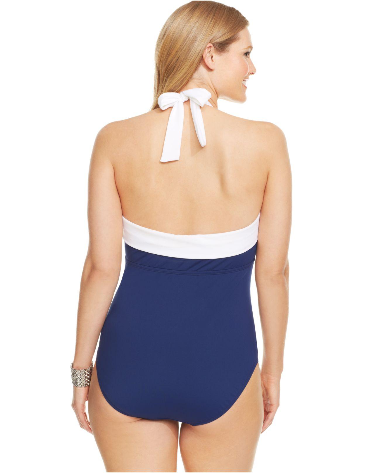 5743423d00d Lyst - Lauren by Ralph Lauren Plus Size Ruched Tummy Control Halter ...