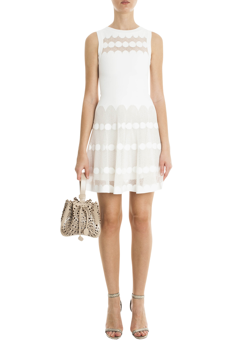 3881feda42d Alaïa Polka Dot Dress in White - Lyst