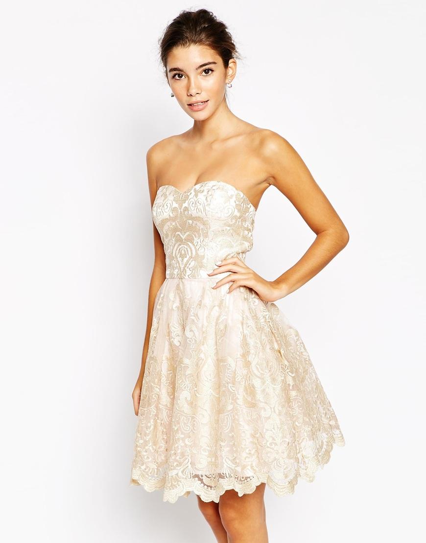 Chi Chi London Premium Metallic Lace Bandeau Mini Prom