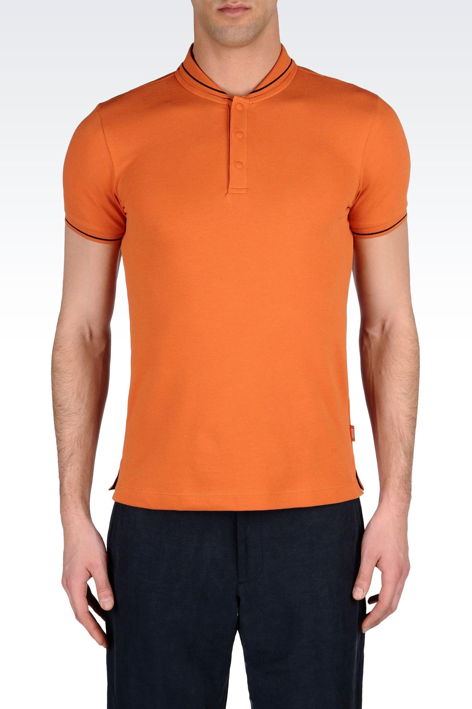 13e1aecc52 Lyst - Armani Polo Shirt in Cotton Pique with Turned Down Mandarin ...