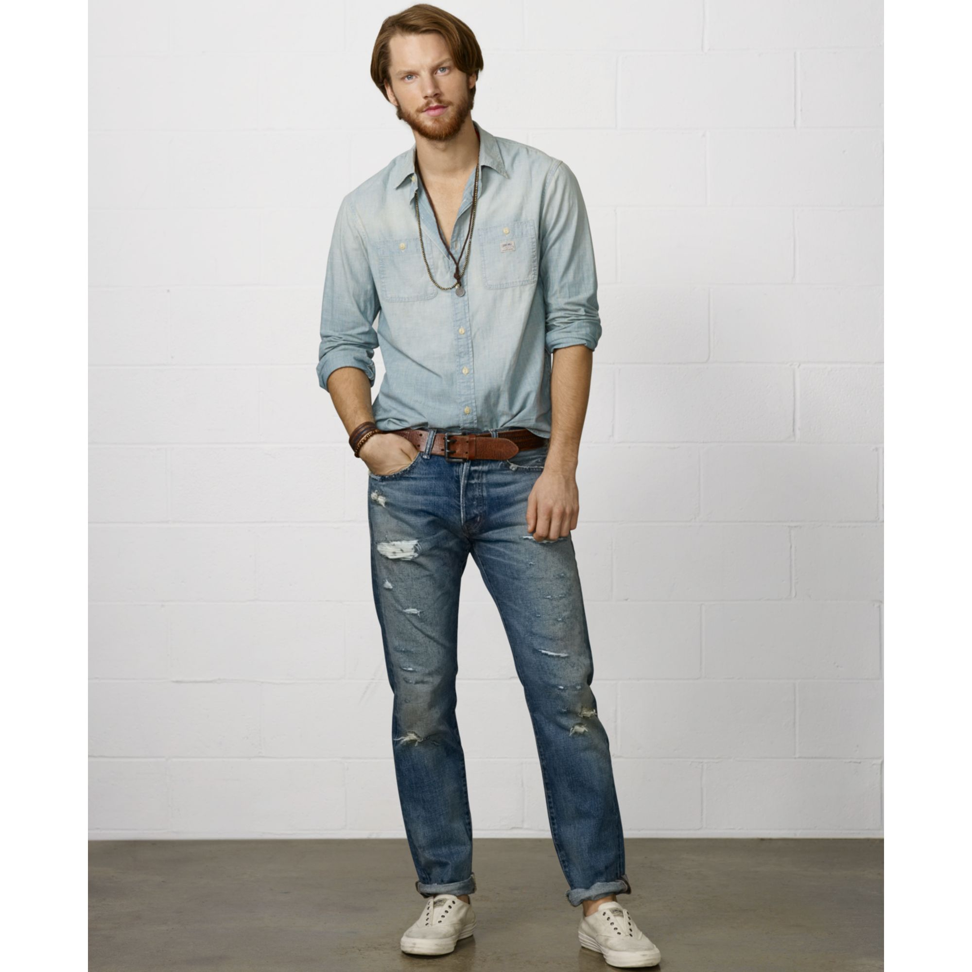143625ae Denim & Supply Ralph Lauren Flag and Eagle Chambray Shirt in Blue ...