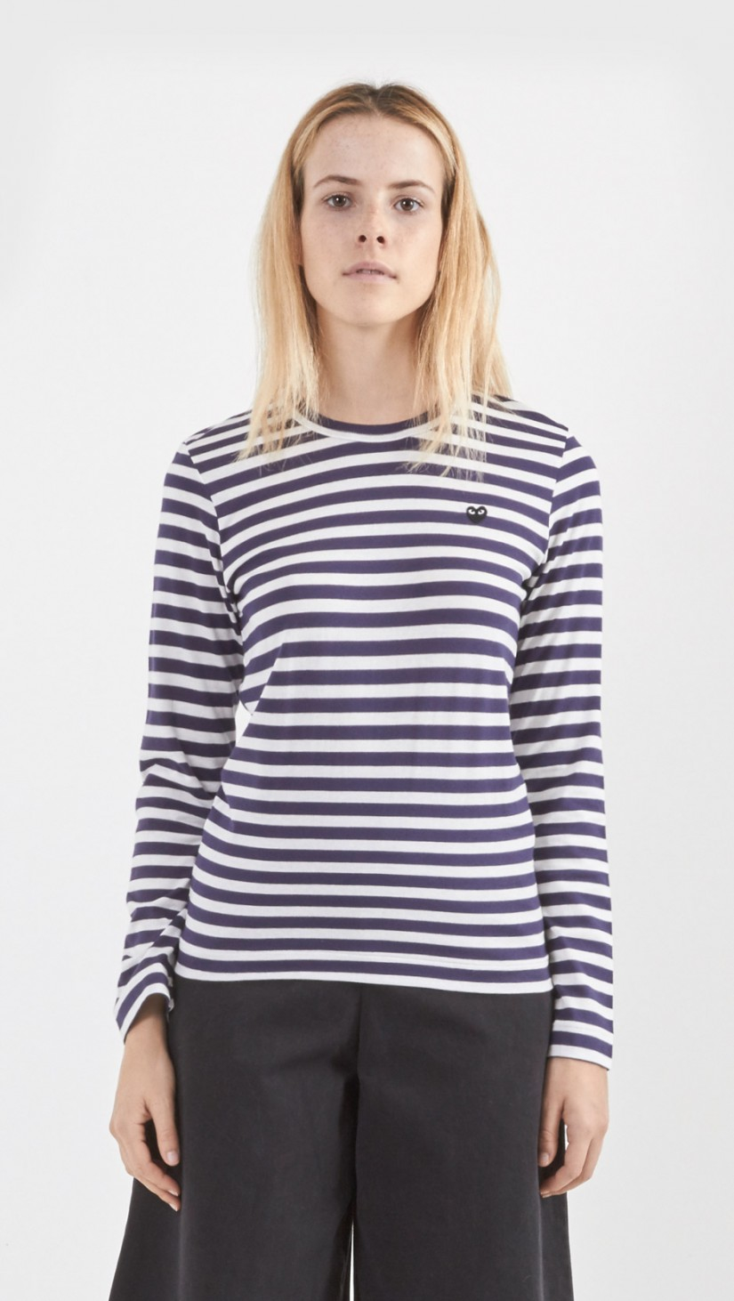 Play comme des gar ons stripe long sleeve shirt in blue lyst for Navy blue striped long sleeve shirt