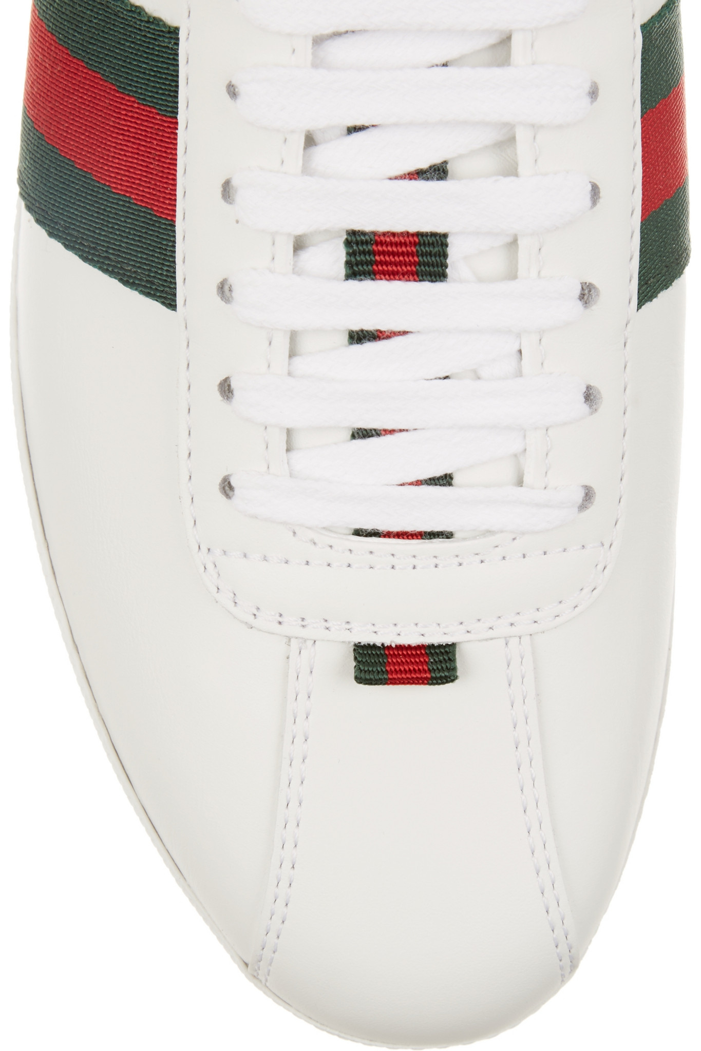 6863dd4f612 Gucci New Ace Watersnake-trimmed Leather Sneakers in White - Lyst