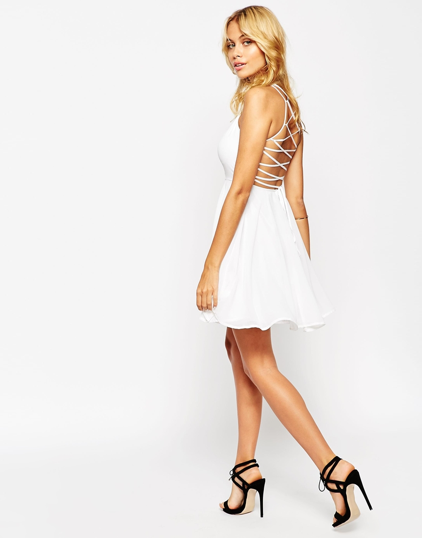 57880c5bb2 Lyst - ASOS Skater Dress With Lace Up Back in White