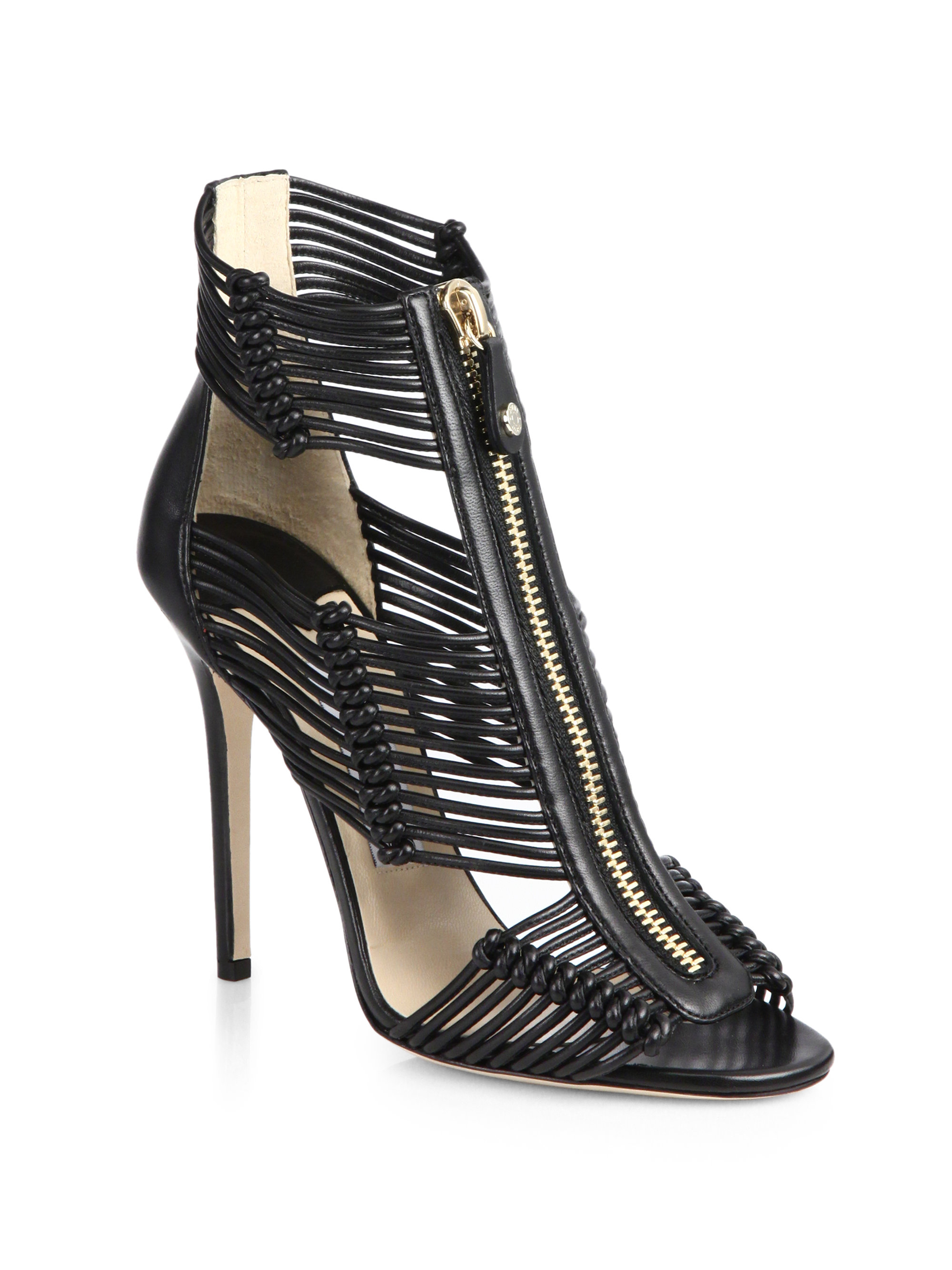 Lyst Jimmy Choo Kattie Zip Front Strappy Leather Sandals