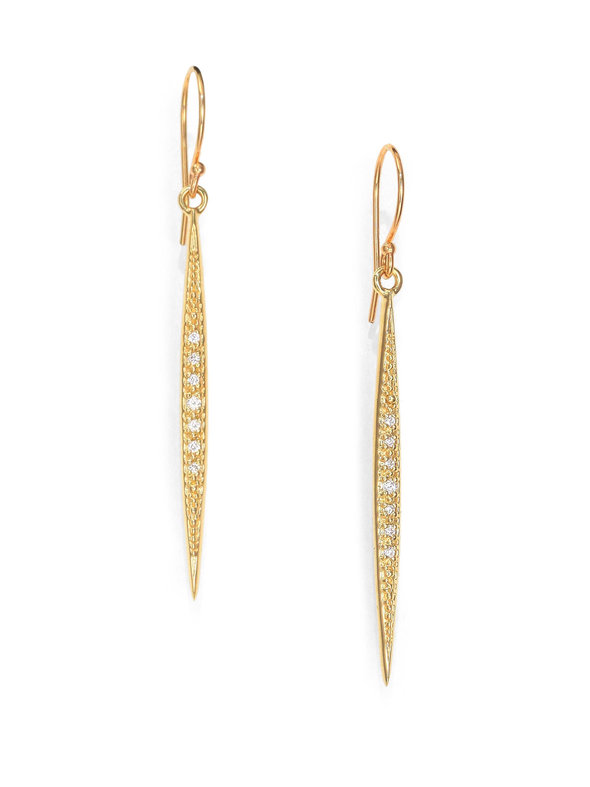 14k Gold Drop Earrings 14k Gold Amethyst Pear Bar Drop Earrings