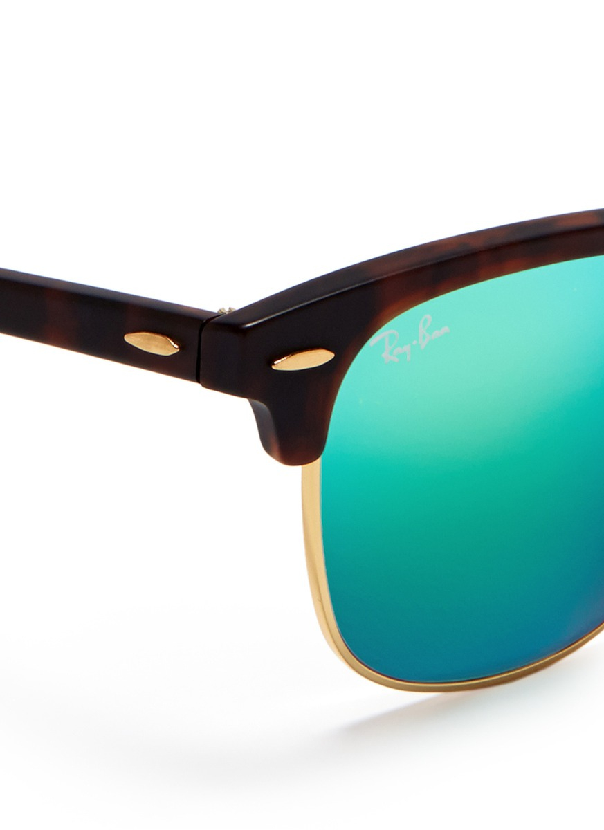 ray ban green clubmaster  Ray-ban \u0027clubmaster\u0027 Matte Acetate Browline Mirror Sunglasses in ...