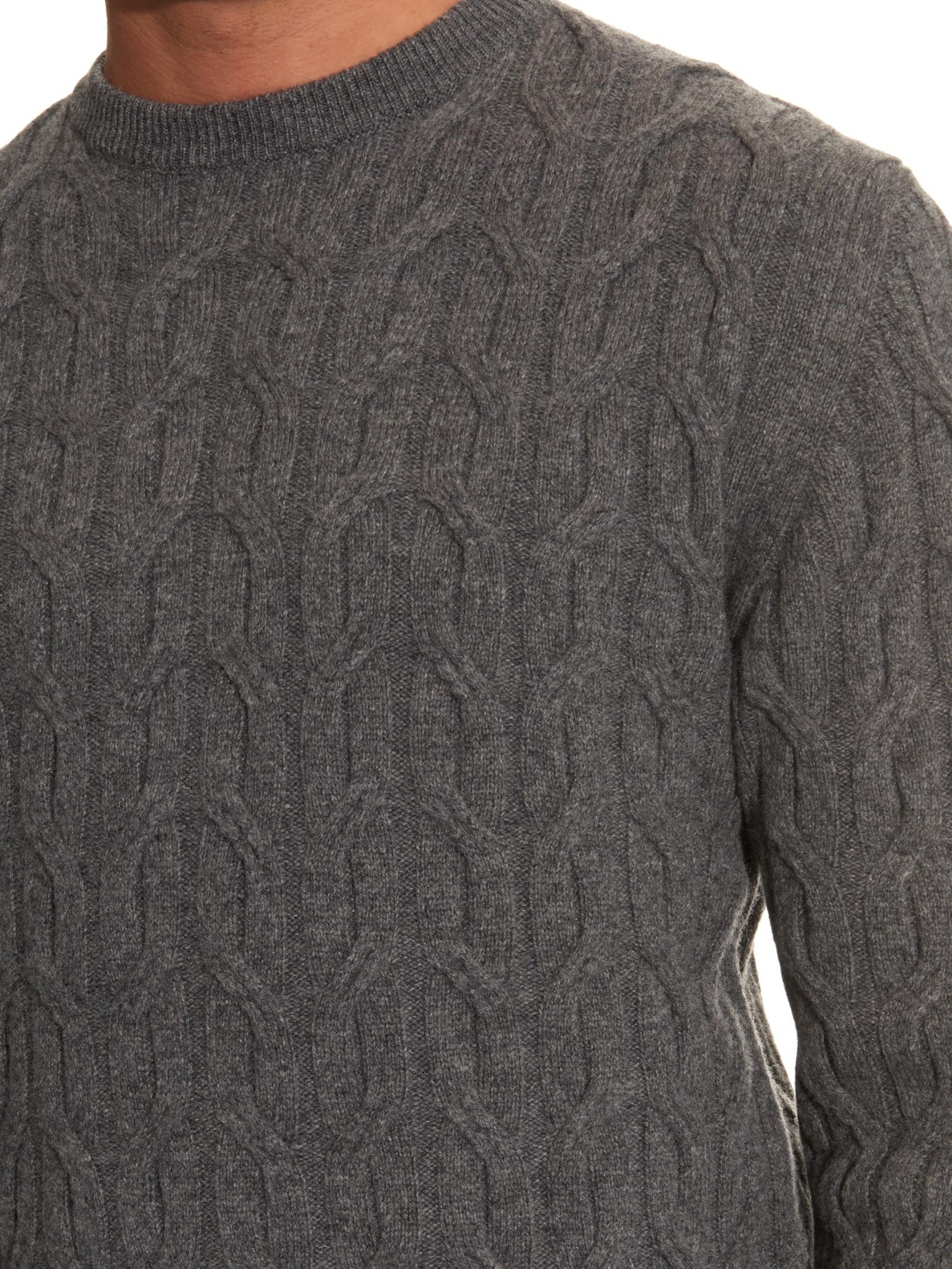 4647c736e4 Lyst - Lanvin Cable-knit Wool Sweater in Gray for Men