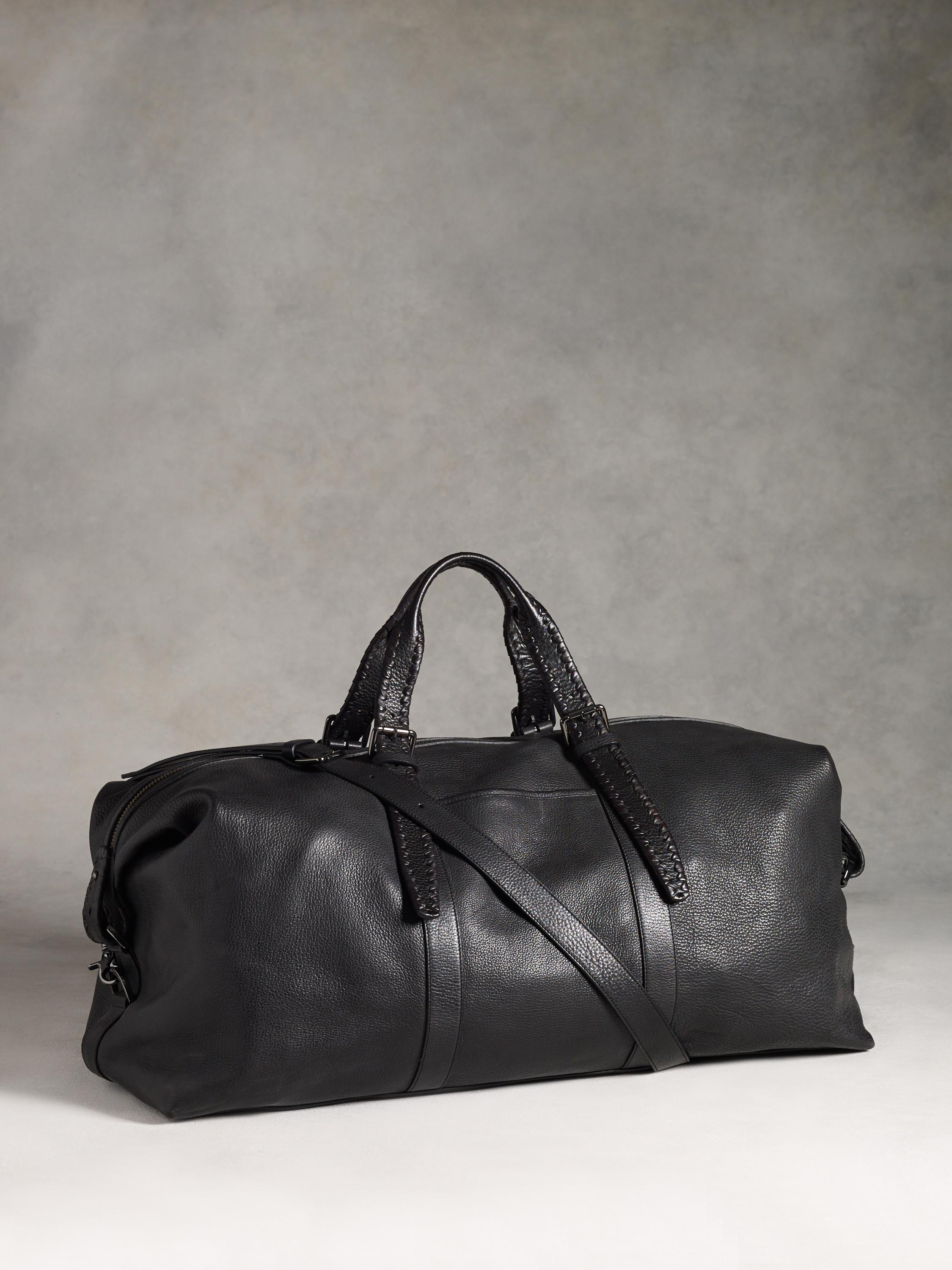 John Varvatos Leather Braided Duffle In