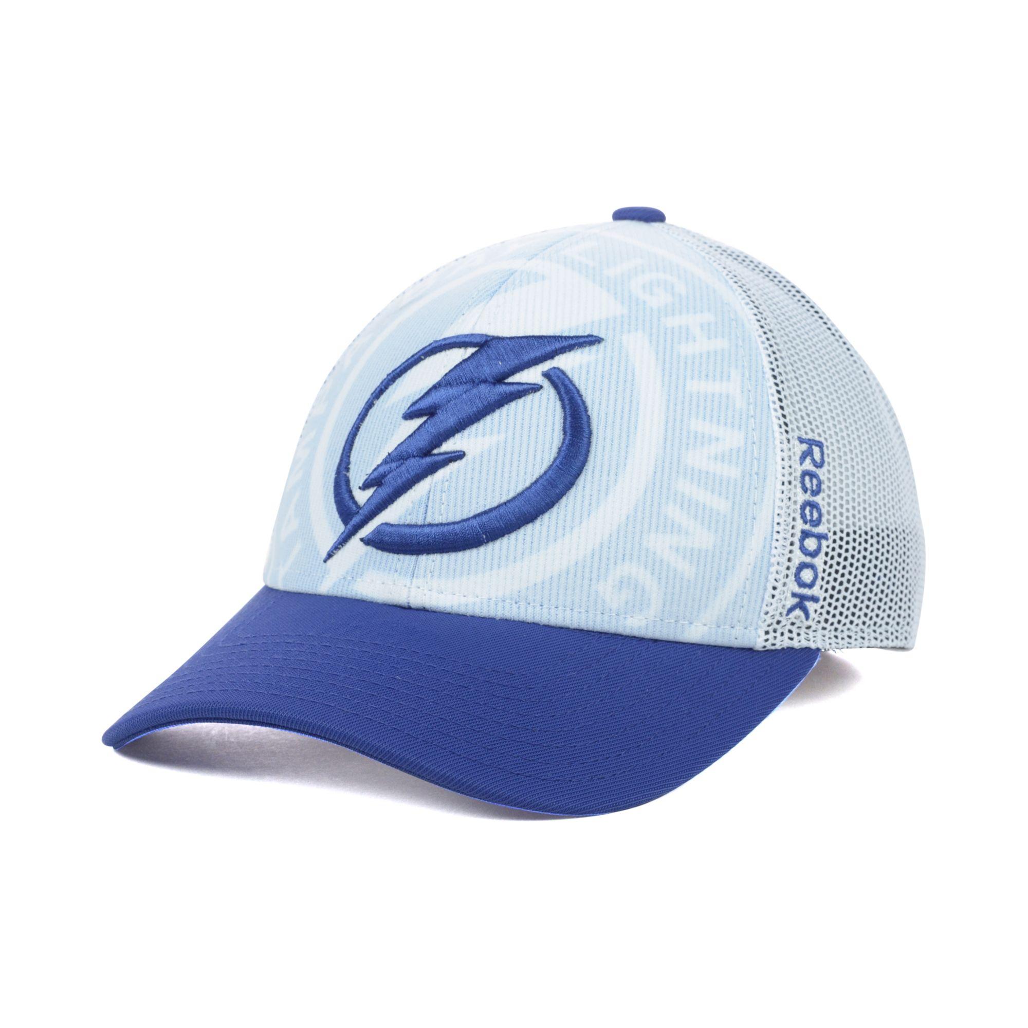 half off 038e8 40909 ... where to buy lyst reebok tampa bay lightning nhl draft cap in blue for  men 2da4e