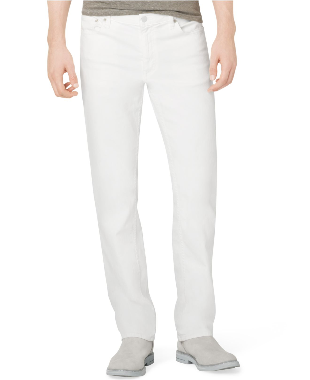 calvin klein jeans slim straight fit jeans in white for. Black Bedroom Furniture Sets. Home Design Ideas