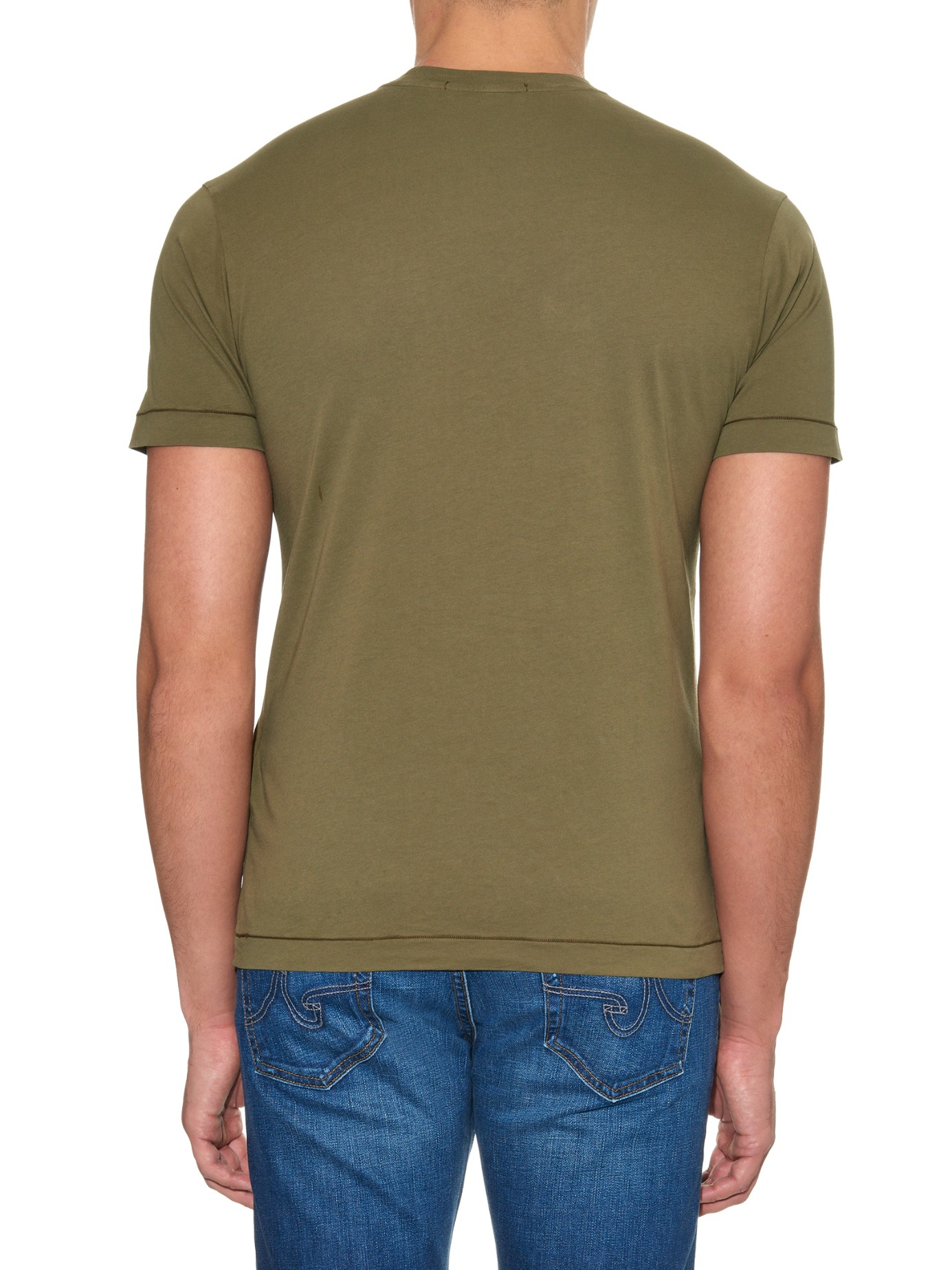 Stone island Logo-Patch Jersey T-Shirt in Brown for Men - Lyst