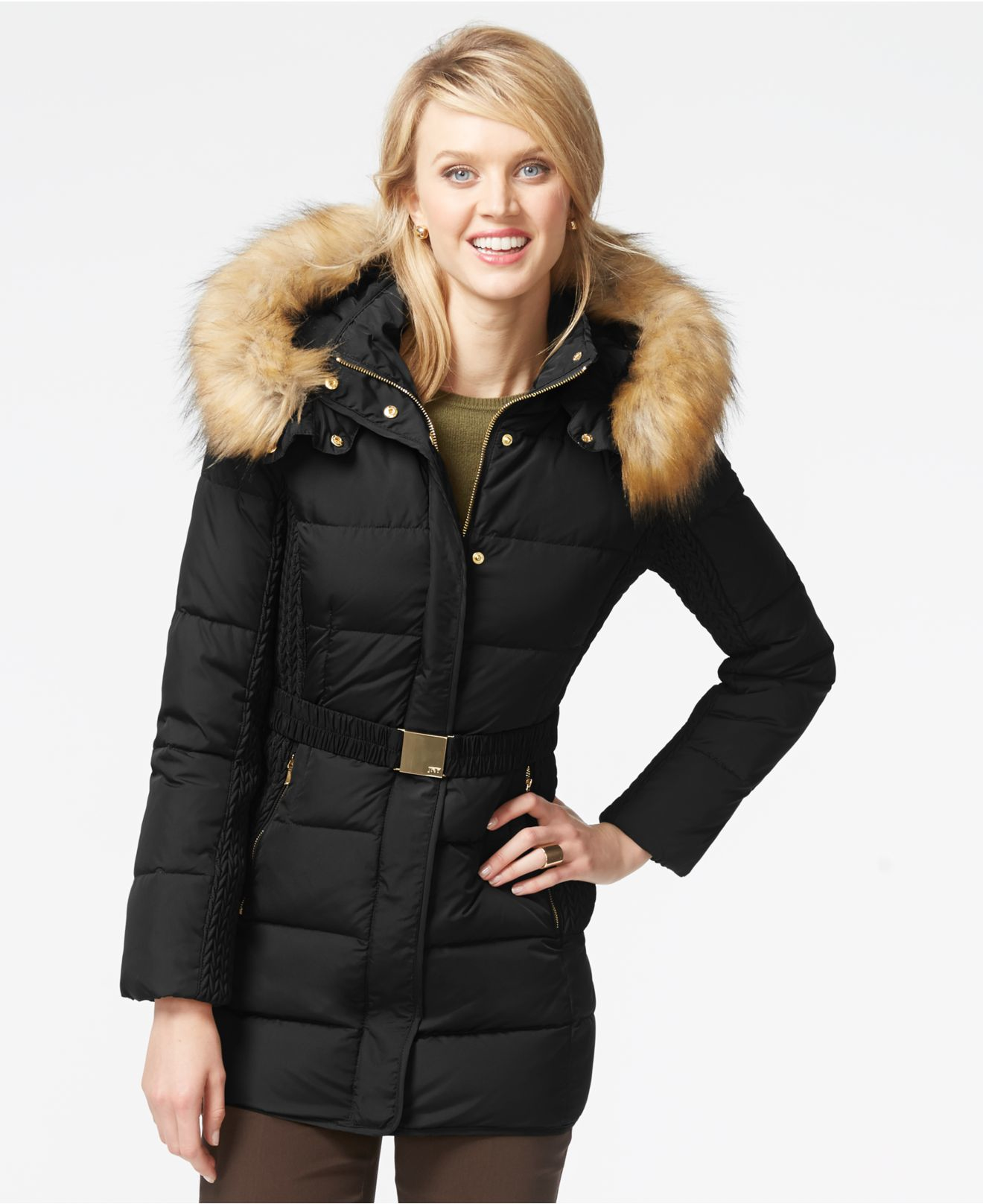 Jones New York Faux Fur Hood Down Belted Jacket In Black