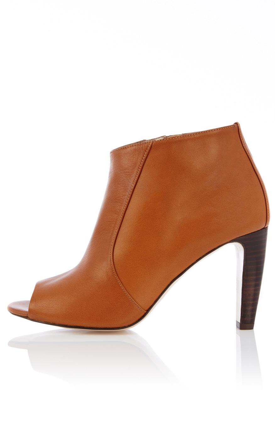 millen leather peep toe shoe boot in brown lyst