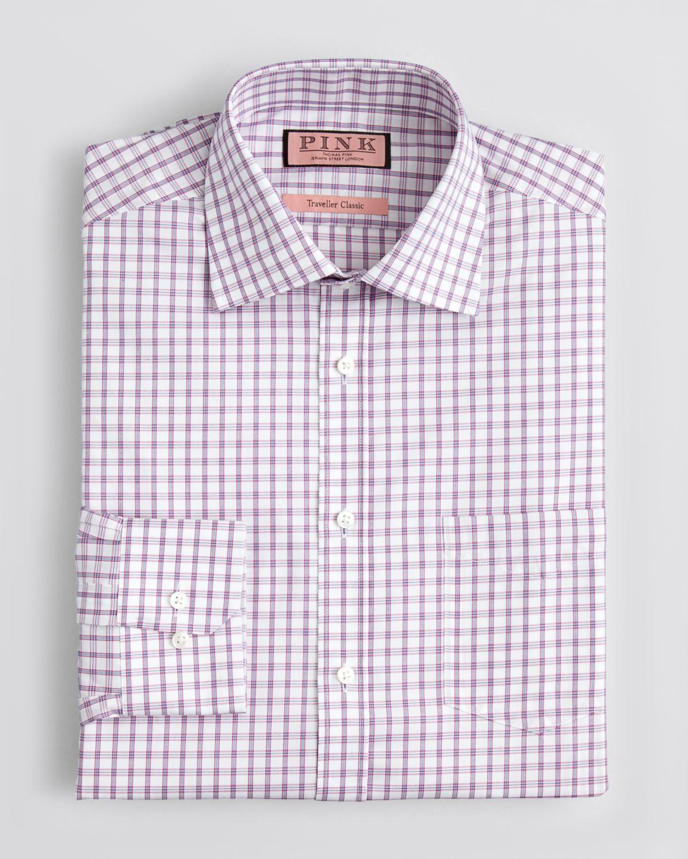 Thomas pink bell check dress shirt classic fit in pink for for Pink checkered dress shirt