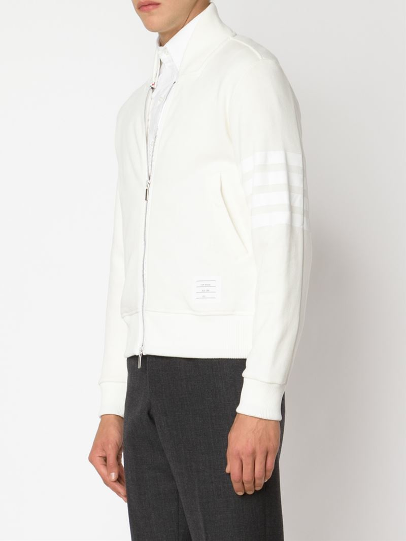 Lyst Thom Browne Jersey Bomber Jacket In Natural For Men