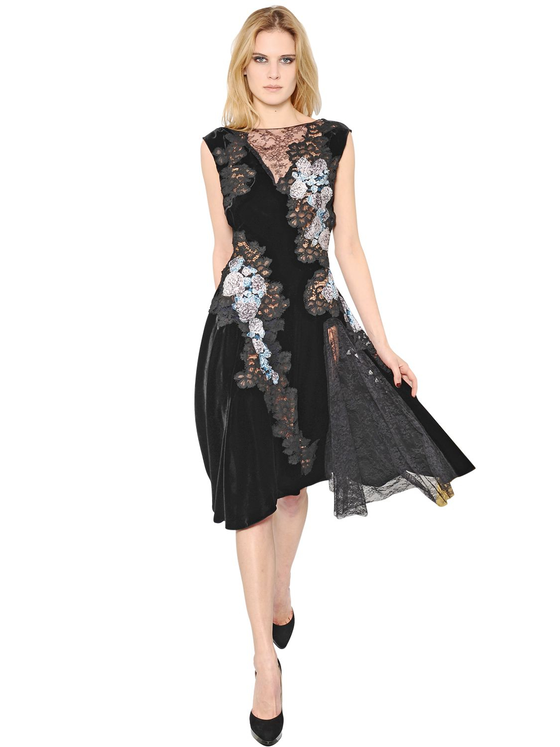 Lyst - Nina Ricci Velvet And Lace Dress in Black 1a93823d4