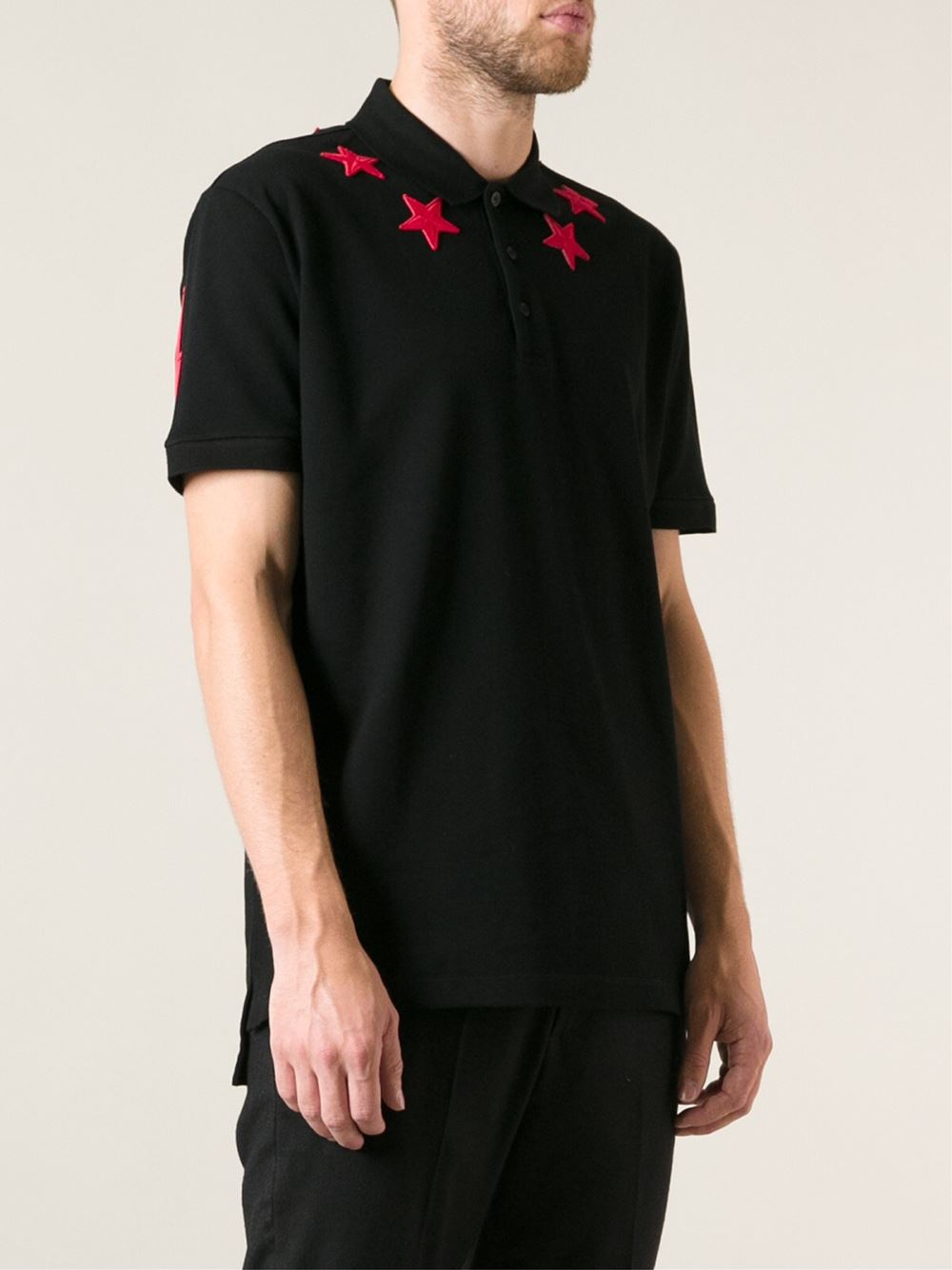 35865bcf Lyst - Givenchy Embroidered Stars Polo Shirt in Black for Men