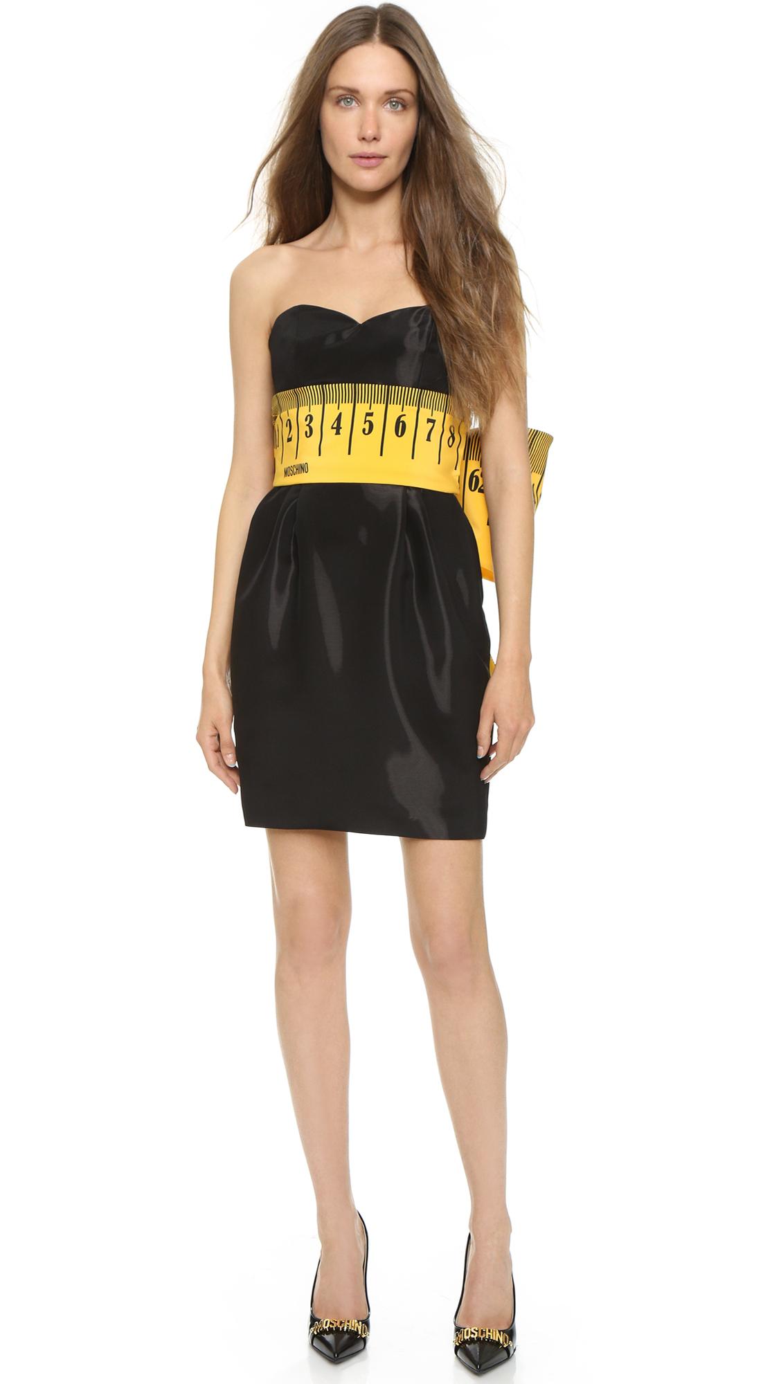 Moschino Measuring Tape Dress Black In Black Lyst